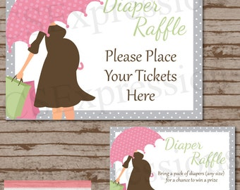 Baby Bump with Pink Umbrella Diaper Raffle Tickets and Table Sign