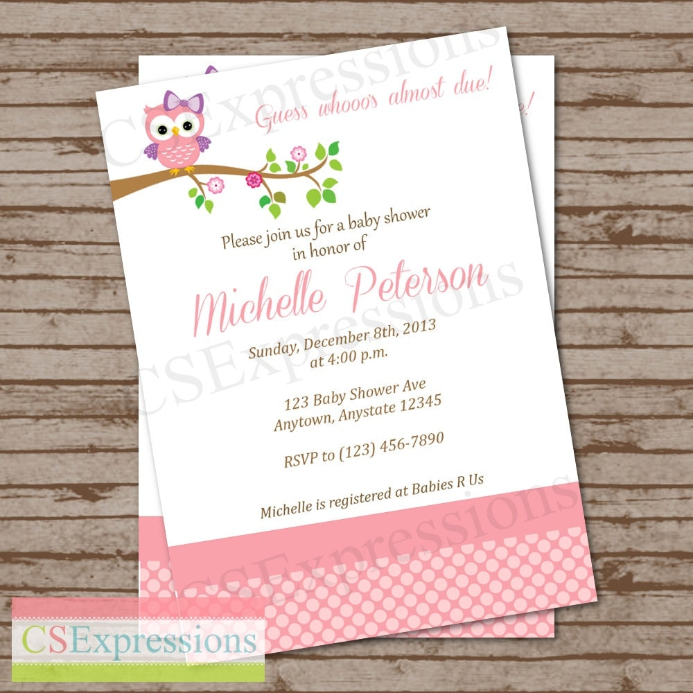 pink polka dot owl baby shower invitation