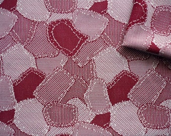 Vintage Fabric 70's Polyester, Burgundy, White, Patchwork, Material, Textiles
