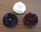 Three taffeta flower pins, hair clip set. Wine, purple, cream. FREE SHIPPING in the US