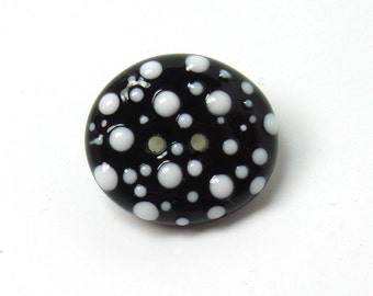 Handmade lampwork glass button  -  Black with White Dots -  black, white, folk button, quilt button, sewing supplies