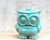 Owl  large Cookie jar in mint