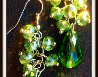 GREEN BLING - Beautiful beaded sparkly dangle earrings, green dangly beaded earrings
