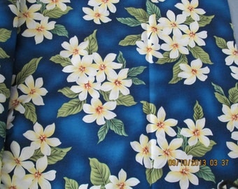 Marianne of Maui Hawaiian Quilting Fabric Deep Royal Blue with Plumeria Clusters