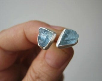 Small Rough - Raw AQUAMARINE Stud Earrings  - Sterling Silver - Custom