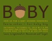 Autumn Acorn Baby Shower Printable Invitation