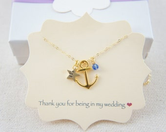 Personalized anchor gold necklace  with birthstone, tiny star, casual, gift, bridesmaid gift, birthday, layered necklace