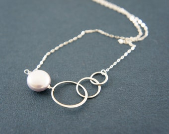 Triple circle entwined sterling silver necklace with a colored coin pearl, friendship, love, wedding, bridesmaid gift, layered necklace