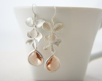 Silver orchid earrings with peach pink color gem, wedding, bridesmaid, gift
