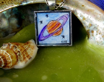 Saturn Tiny Watercolor Art Pendant Necklace
