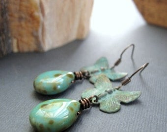 Verdigris Butterfly Earrings, Turquoise Dangle Teardrop Earrings, Vintage Inspired Butterfly Jewelry - ASCEND