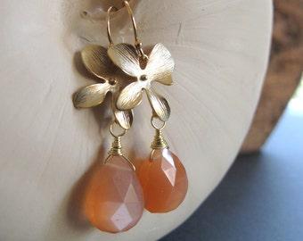 Orchid Jewelry, Peach Moonstone Teardrop Earrings, Gemstone Bridal Earrings Gold - ORCHID
