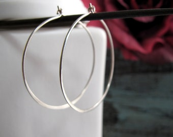 Large Sterling Silver Hoop Earrings, Everyday Sterling Silver Earrings, Women's Gift Jewelry- SIMPLICITY