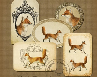 Vintage Fox Tags Printable Tags Instant Digital Download