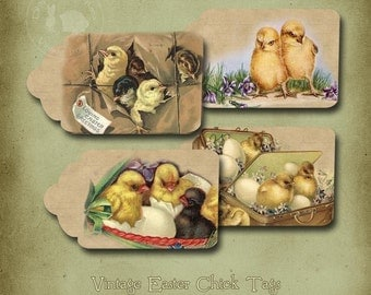 Vintage Easter Chicks and Eggs Printable Tags Instant Digital Download