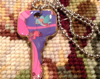 Disney's Cinderella Jaq and Bird Altered Art Key Necklace