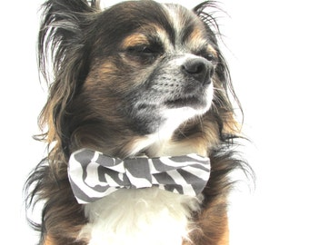 Pet Dog Bow Tie- Clip on- Grey and White Zebra Print-small