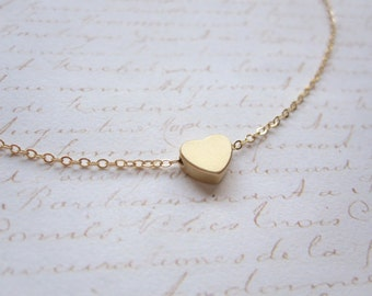 Simple Gold Heart Necklace on 14k Gold Filled Chain