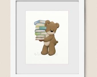 Girls or Boys Room Decor, Teddy Bear Baby Nursery Wall Art 8 x 10, Reading Books Childrens Art Print  (264)