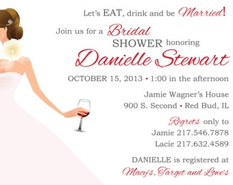items similar to wine theme bridal shower invitations  bottle and, Bridal shower invitations
