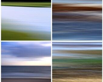 Beach Abstracts Combo Pack, Blue, Brown, Green, Purple, Seascape, Modern Art, 11X14 Mats, Big Wall Art,  Ready to Frame