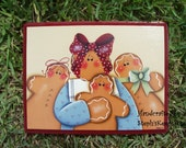 Handpainted Gingerbread Plaque Primitive