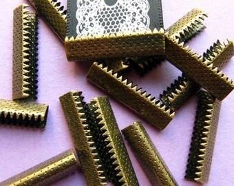 16pcs. 25mm or 1 inch Antique Bronze No Loop Ribbon Clamp End Crimps