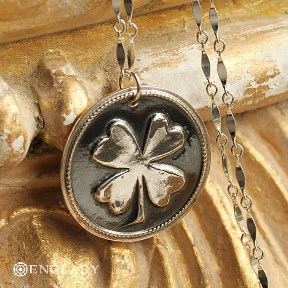 Four Leaf Clover Wax Seal Necklace - Fine Silver, Sterling Silver