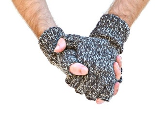 Men's fingerless gloves 100% wool brown tan natural fiber warm gloves gift for him Fathers Day Christmas birthday