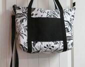 EVERYTHING ON SALE !! clearance priced - Handmade Black and White Tropical Diaper Bag - Tote Bag - Travel Bag