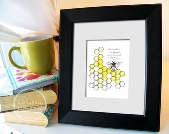 Bee and Honeycomb Proverbs Christian Art - 5x7 Wall Art Instant Printable