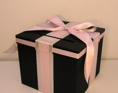 Black and Light Pink / Silver Wedding Card Box Gift Card Box Money Box Holder--Customize your color (10x10x9)