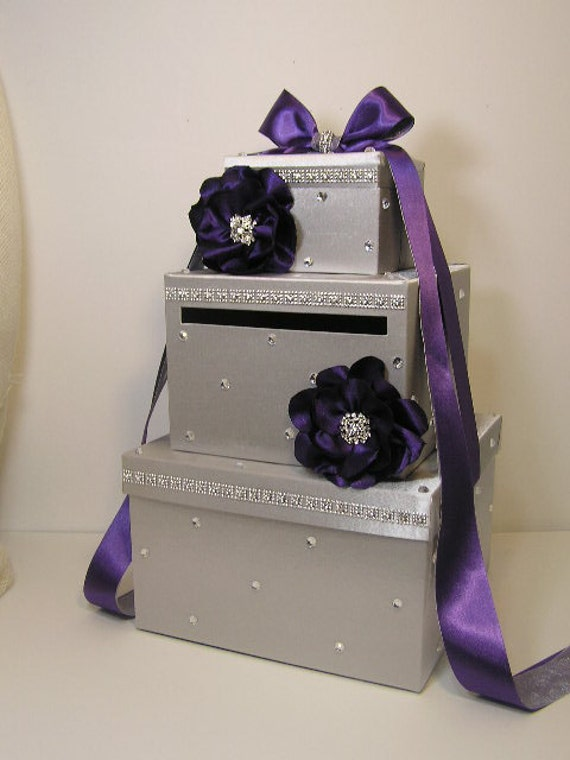 Silver Wedding Gift Card Holder : Silver Wedding Card Box with handmade flowers Gift Card Box Money Box ...
