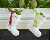 Set of 2 Elegant Christmas stockings, White, Personalized