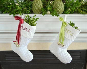 5 Elegant Christmas stockings, White, Personalized