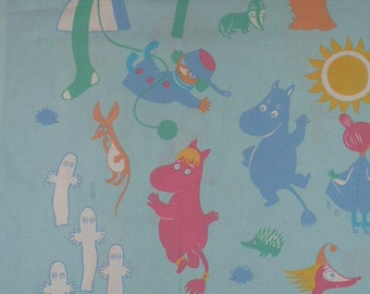 Very old vintage Moomin cotton fabric early 70s Little My Tooticky Snufkin tillukka
