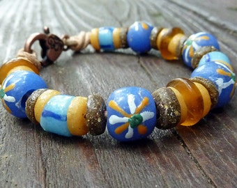 Blue Recycled Glass Bracelet - Blue Recycled Glass Krobo Beads, Tan Recycled Glass Beads, Tan Leather Bracelet