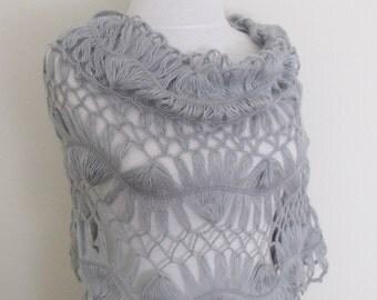 Grey Bridal Lilies Shawl-Ready for shipping