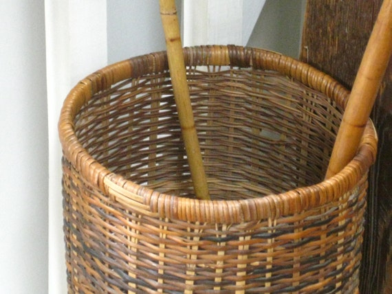 Vintage Wicker Umbrella Or Cane Stand Basket Tall Woven Basket