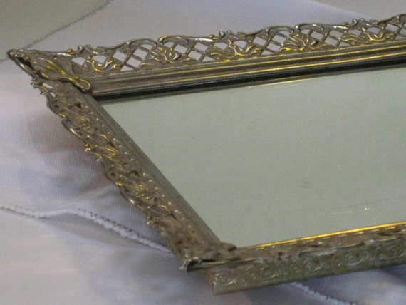 Vintage vanity mirror long narrow gold filigree framed for Long narrow mirror