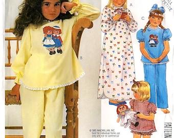 Girls Raggedy Ann Pajama & Nightie Pattern McCall's 2240 Transfer Size 2-4 X-Small