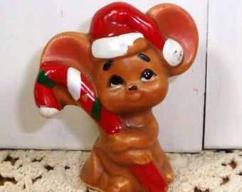Tiny Brown Christmas Mouse, Ceramic, Chippy, Santa Hat, Candy Cane  (117-14)