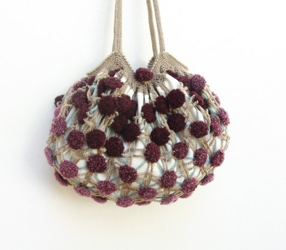 Crochet Boho Bag : Bubble Boho Bag Crocheted Purse Purple and Plum by StarBags