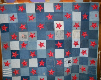 Twin Size Quilt Throw Quilt Denim, Pockets, Stars 15