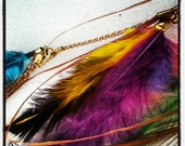 Multi color feather hair flair clip Chandelier Tribal Boho Holiday Gift