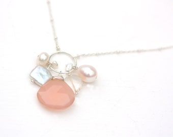 Long Pearl Necklace, Layering Necklace, Long Necklace, Long Pink Necklace, Pink, Freshwater Pearl Necklace, Long Pink Cluster Necklace,