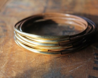 Galveston Dark Brown Leather and Gold Bangles - Easy Stacking Bracelet Set - Bohemian Hippie Young Urban Cool