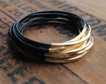 Mag Mile Black Leather and Gold Stacking Bangle Bracelet Set