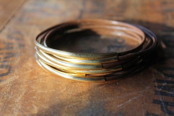 Galveston Leather and Gold Bangles - Easy Stacking Bracelet Set - Bohemian Hippie Young Urban Cool