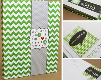 SALE // Baby Book...Green Chevron...Perfect Bound (Pregnancy - 5 Years)
